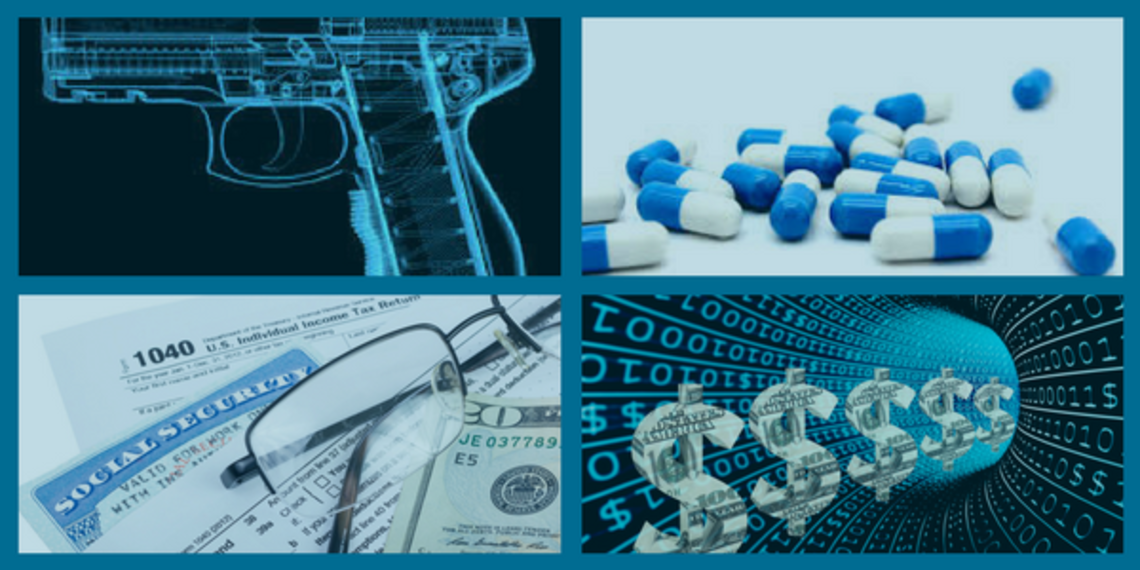 Grand Policy Challenge Images: Gun, Prescription Drugs, Social Security Card, Data and Dollar Signs