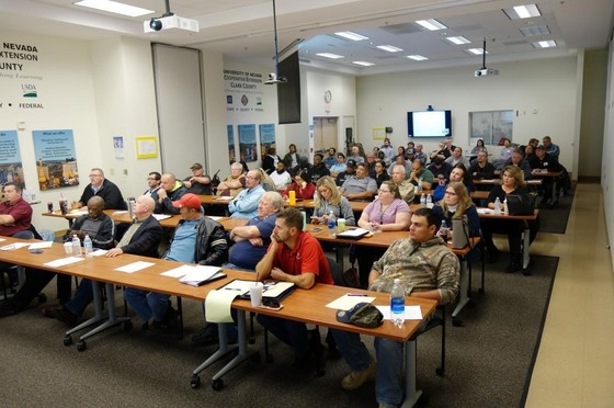 Participants at the Bed Bug Workshop hosted at the Clark County Cooperative Extension office in Las Vegas, NV on February 21, 2018. Others joined remotely from 7 University of Nevada Cooperative Extension offices throughout the state.