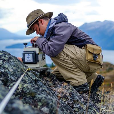 Undergraduate student, Noah Vento, uses Lacoste and Romberg Gravimeter in British Columbia, Canada field work (Photo by Patrick Fulton).