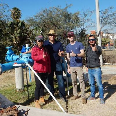 Doctoral student Yibin Huang, Dr. Peter Knappett, Brian Lynch '19, and University of Guanajuato's Manuel Aviles.