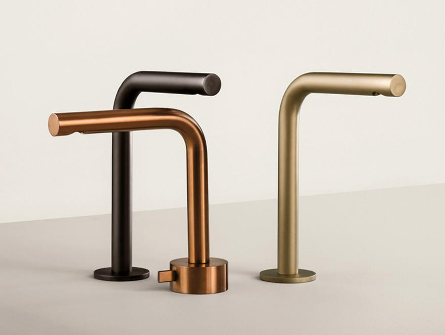 Fantini faucets in Gun Metal, Brushed Copper and Matte British Gold