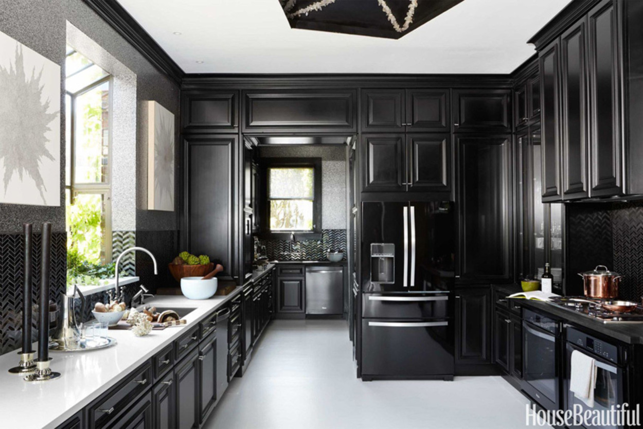 House Beautiful black cabinetry in kitchen, black kitchens