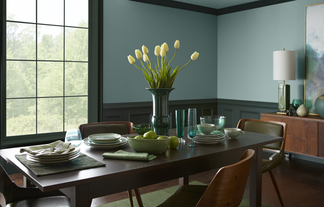 Behr Nile River dining room setting and walls, In The Moment, blue paint from Behr
