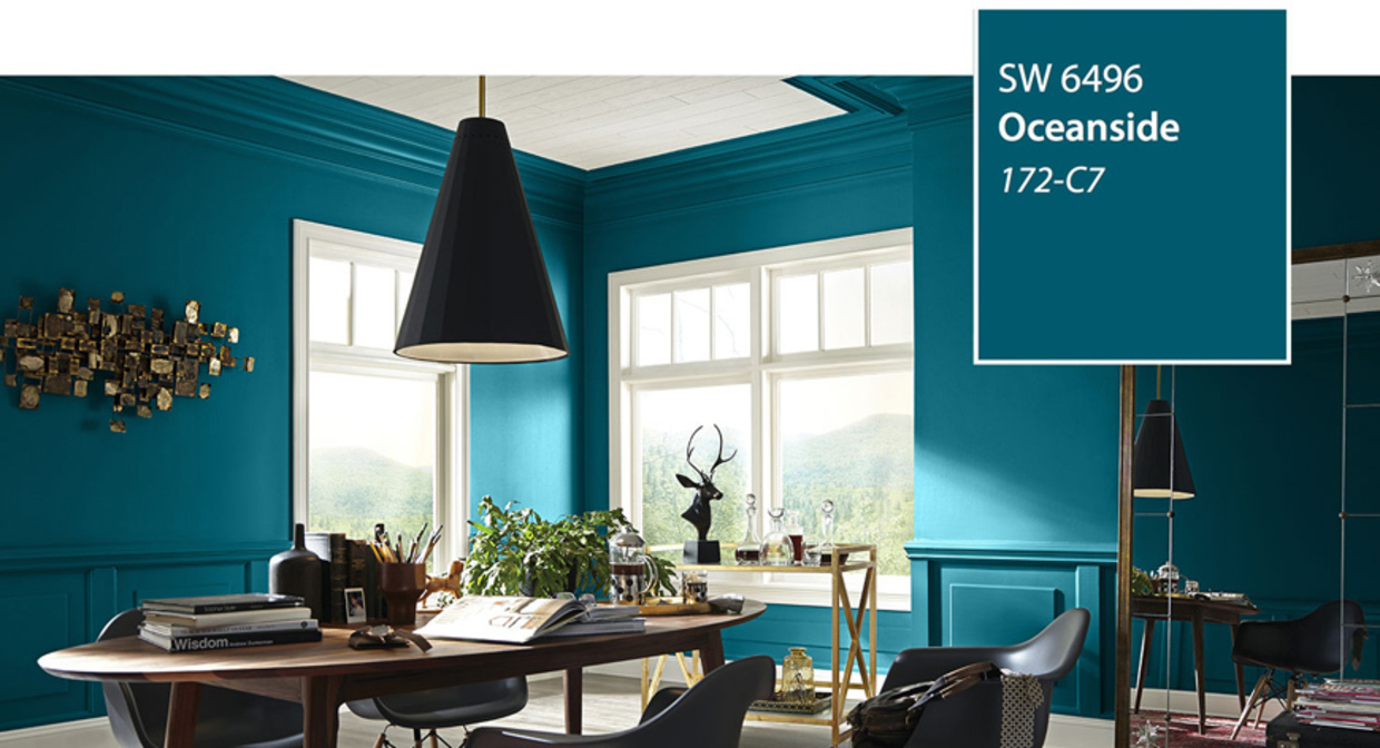 Sherwin Williams' Oceanside Blue dining room, Blue rooms from Sherwin Williams
