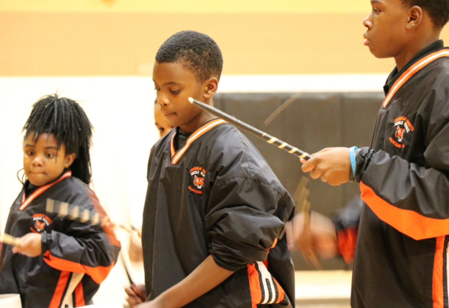 Dr. Martin Luther King Jr. Elementary School drumline and flag corps (Project FOCUS Muskegon Heights)