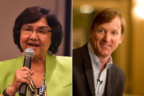 Democratic candidates for governor Lupe Valdez and Andrew White. Robin Jerstad: Valdez/Marjorie Kamys Cotera: Andrew White