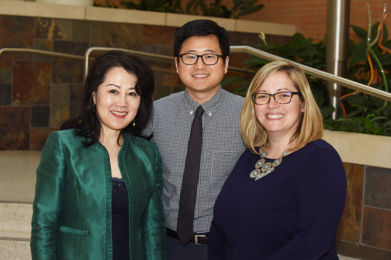 Leading the UAMS Radiation Oncology Residency Program are (from left) Fen Xia, M.D., Ph.D., Department of Radiation Oncology chair and residency program director; Thomas Kim, M.D., assistant residency program director; and Ellie Dickinson, residency coordinator.