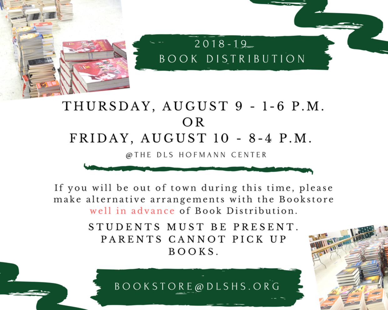 2018-19 Book Distribution - Save the Dates