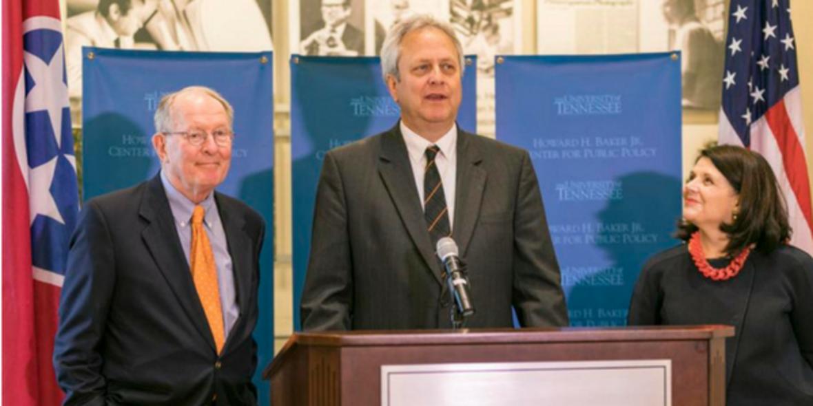 Senator Alexander, Dr. Matt Murray, and Chancellor Beverly Davenport