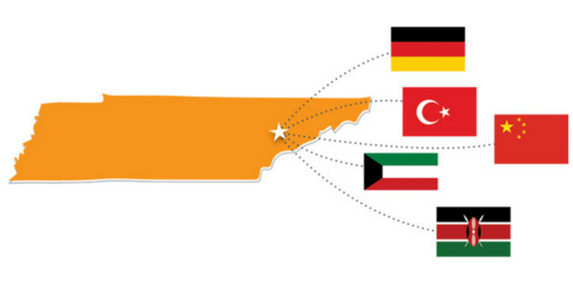 Map of Tennessee connected to the flags of other countries