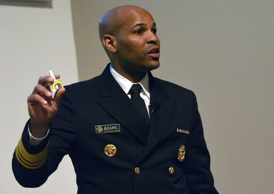 Vice Admiral Jerome M. Adams, M.D., M.P.H., 20th U.S. Surgeon General, demonstrates how to use naloxone during