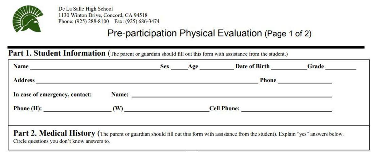 Pre-Participation Physical Evaluation Form (PDF)