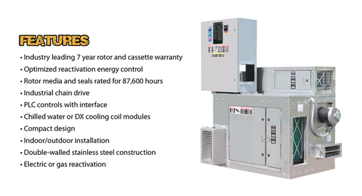 Features of the Dry Climate Desicant DeHumidifcation Series