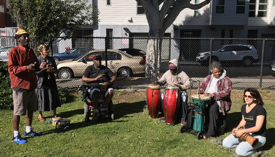 The San Francisco Department of Homelessness and Supportive Housing held their first Summer Solstice this year. The festivities included an enlivening drum circle, pictured above.