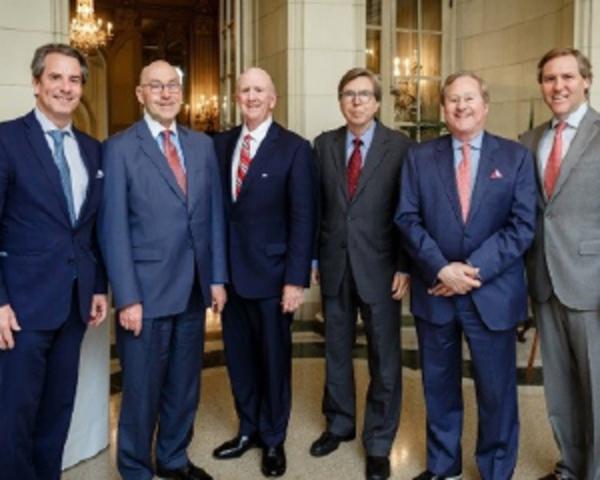 Photo: Former U.S. Ambassadors to Canada (in between Amb. Holliday, left, and Matt Echols of Coca-Cola, right)