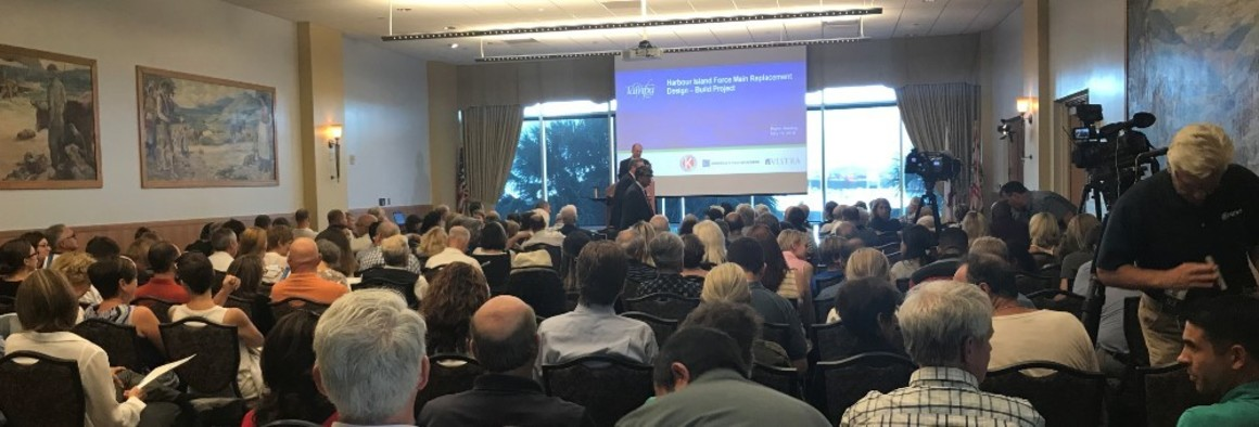 Public meeting held May 16, 2018, and hosted by the City of Tampa to review the details of the Harbour Island Force Main Replacement Design-Build Project at the at the Tampa Bay History Center.