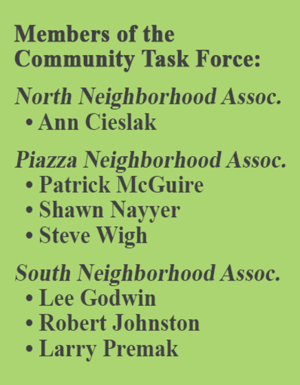 Members of the Community Task Force include : Ann Cieslak - North Neighborhood Association; Patrick McGuire, Shawn Nayyer, and Steve Wigh - Piazza Neighborhood Association; and Lee Godwin, Robert Johnston, Larry Premak - South Neighborhood Association.