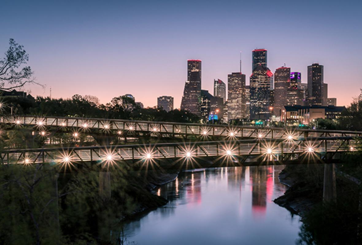 Houston skyline at sunrise