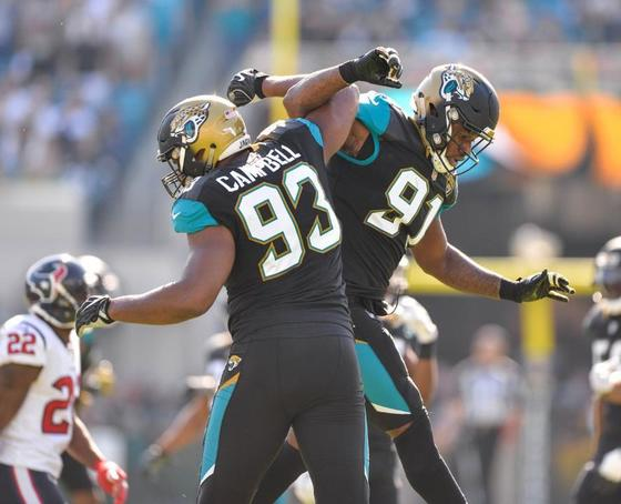Calais Campbell and Yannick Ngakoue of the Jacksonville Jaguars.