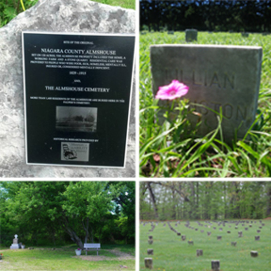collage featuring: site of the original Niagara County Almshouse plaque , closeup of headstone with flower, rows of headstones