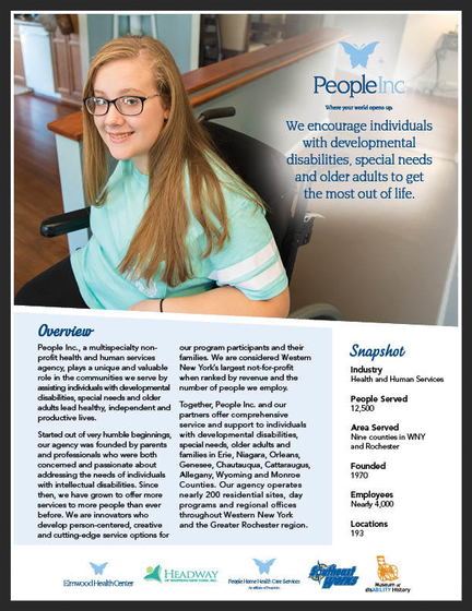 People Inc. Fact sheet cover featuring Delaney, 14 year old participant of the environmental modifications program