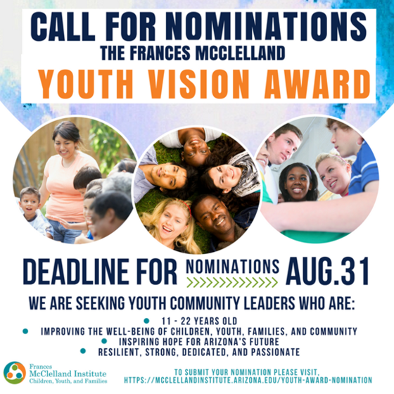 Call for nominations for the Francess McClelland Youth Vision Award