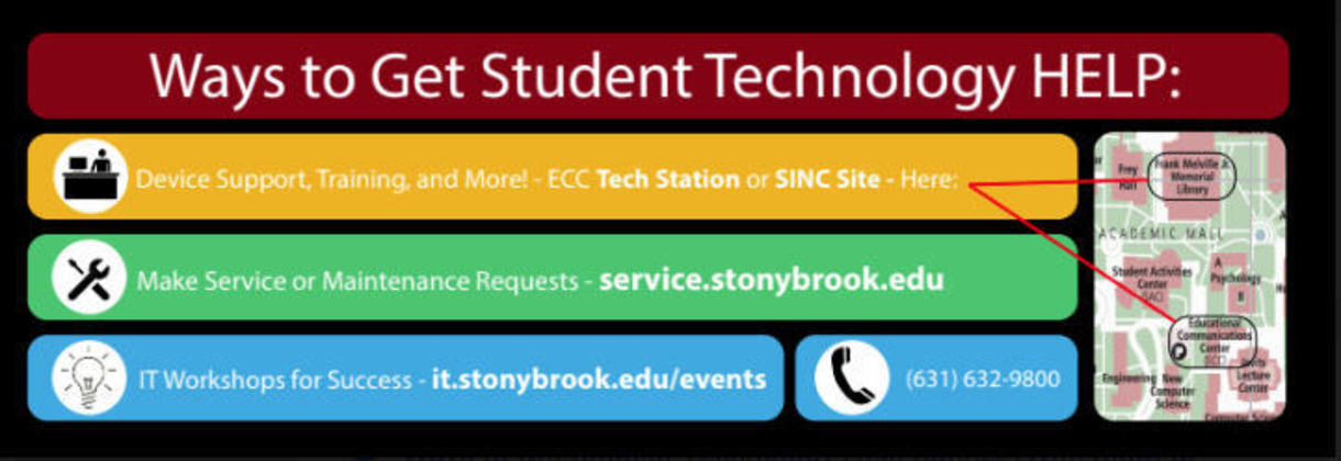 Students who need help using technology can reeive help from DoIT by either calling 631.632.9800, reporting their issue online at: service.stonybrook.edu , visiting our tech station in ECC or a SINC Site or attend a technolog workshop. Visit it.stonybrook.edu for additional information.