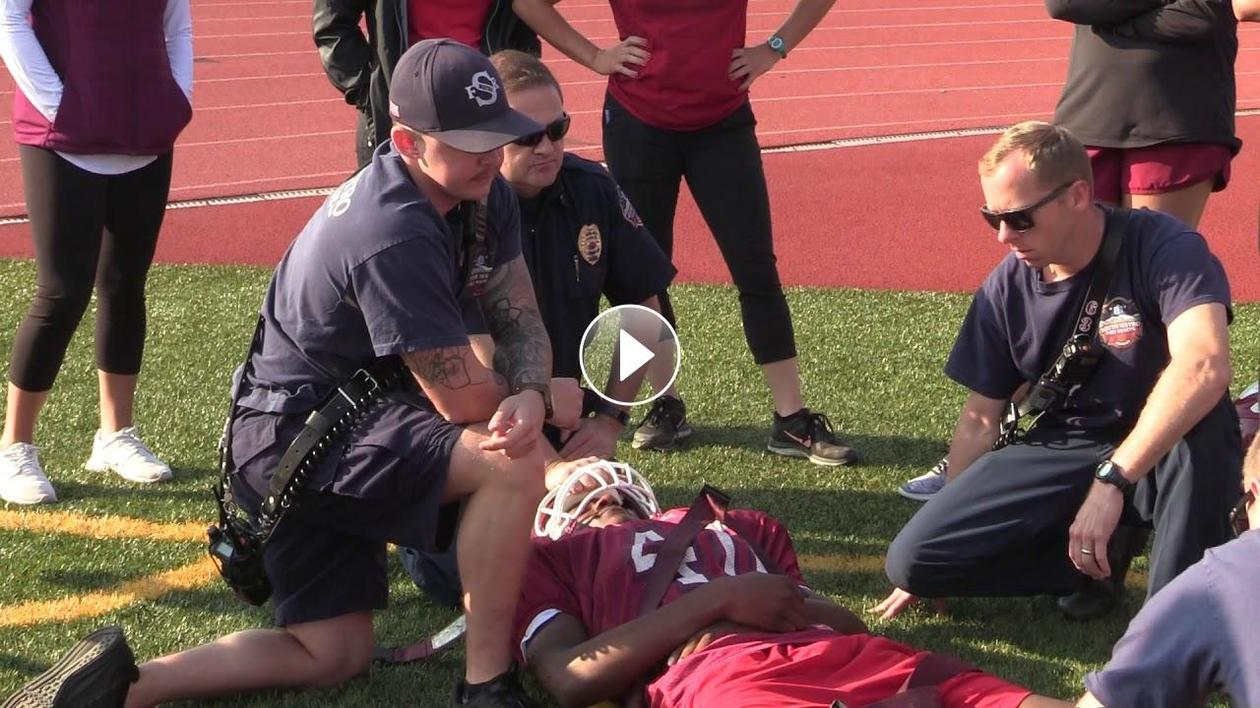 A team effort: EMTs, physicians and CCSD athletic trainers come together for important training