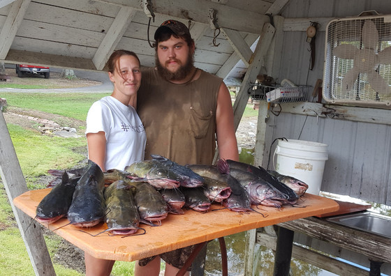 A big day of catfish fishing was had by this Arkansas couple at Lake Overcup near Morrilton over the Labor Day weekend.