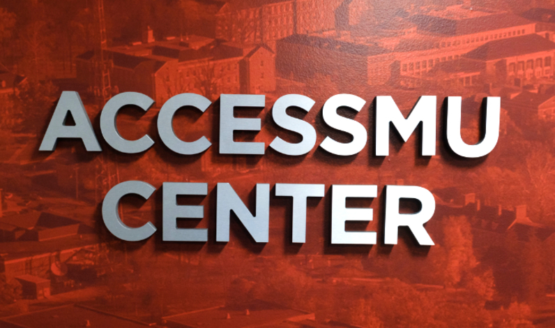 The words 'AccessMu Center' over a red background