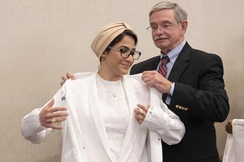 White coat recipient and Dr. Burghardt