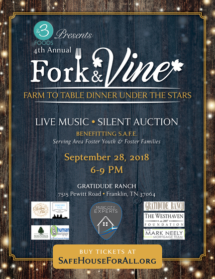Fork and Vine Farm To Table Dinner Under The Stars Flier