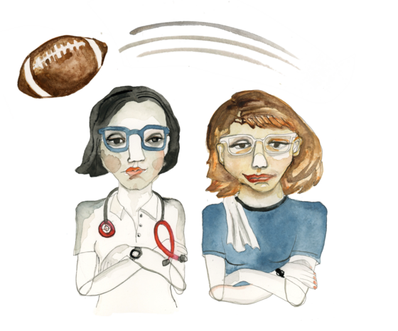 Illustration of a female athlete and a female doctor with a football flying over their heads
