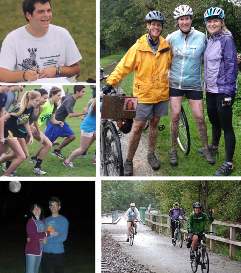 Collage of photos of people participating in neuroendocrine cancer fundraising events