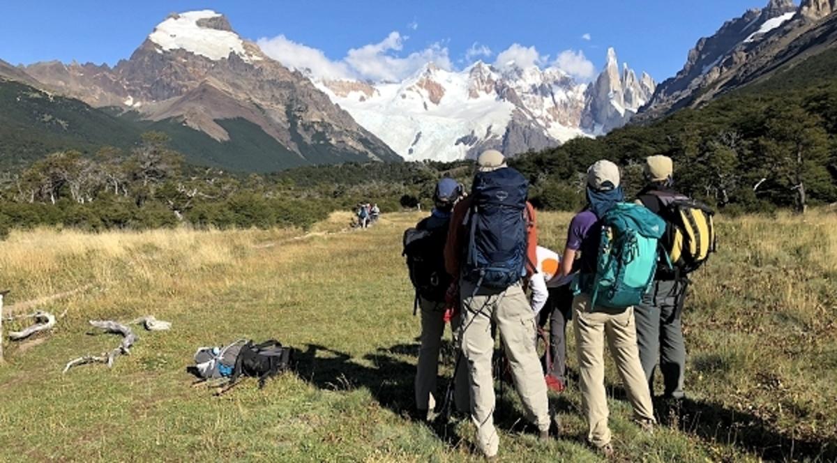 Gazing at Cerro Solo, the Cordon Adela and Cerro Torre, Los Glaciares National Park, Argentina.