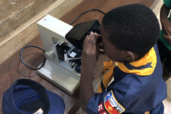 Scout looking through microscope