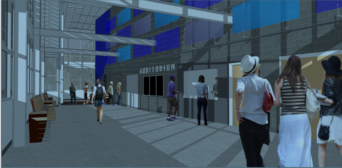 Image shows rendering of new auditorium at Gresham High School, currently under construction.