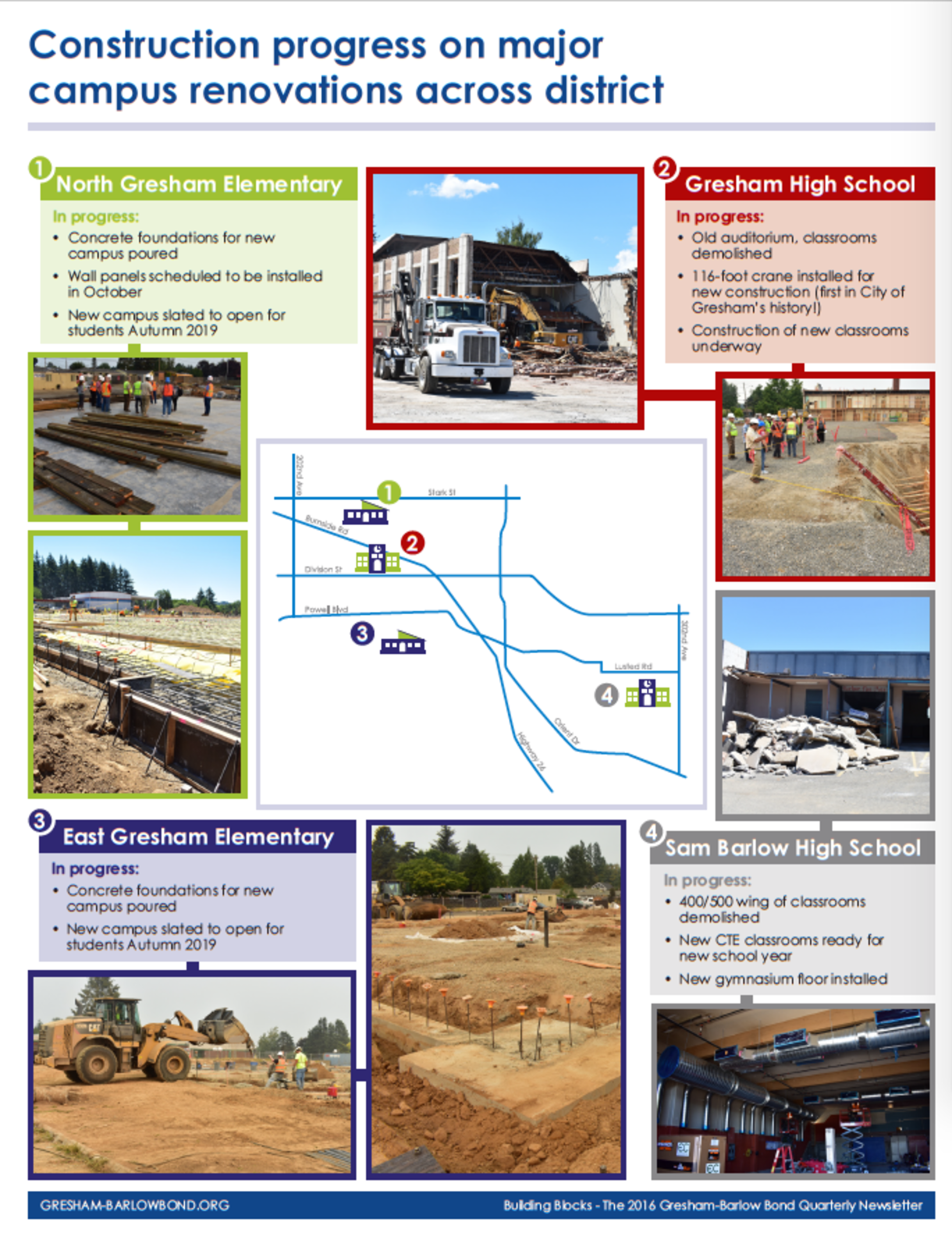 Image shows map of schools across district, with photos of construction projects underway.