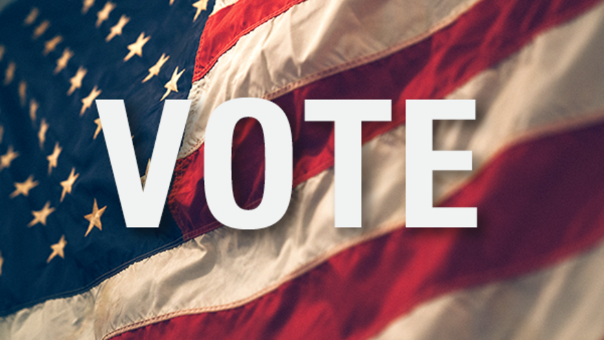 Image of American flag and the word Vote