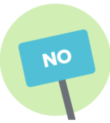 Illustration of a sign that says No.