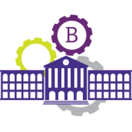 Banner logo - capital B surrounded by a purple gear above a cartoon school building