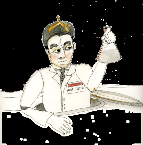 Illustration of scientist with beaker