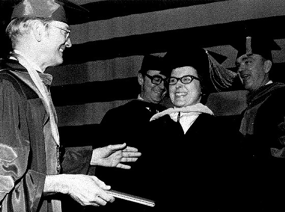 Nancy Scofield receiving her diploma