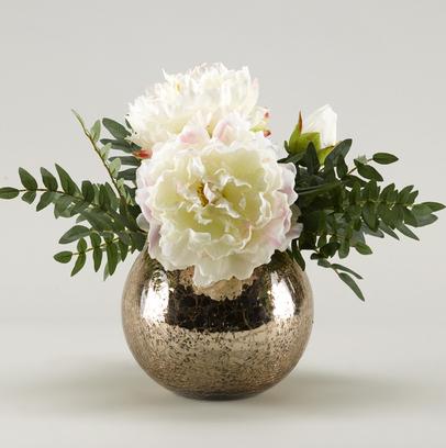 White peonies in rose gold bowl