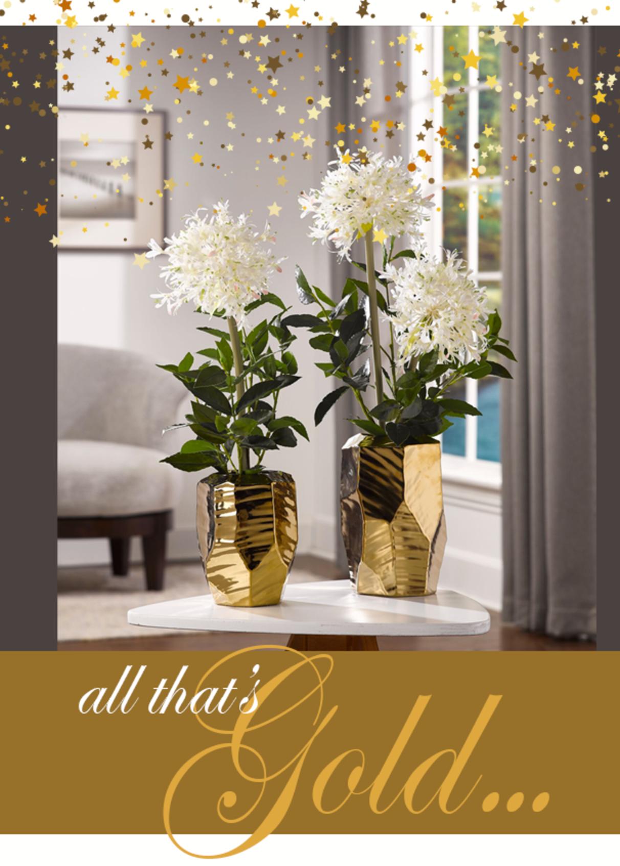 Starfire Allium in Gold Vase
