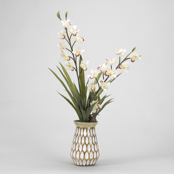 Orchids in Gold Vase