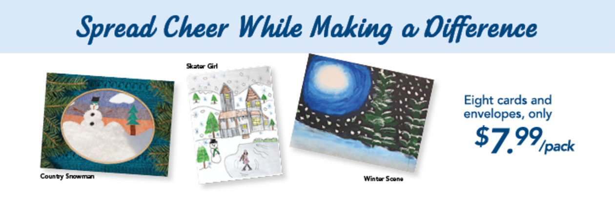 All three People Inc. Holiday card designs. They are titled; Country Snowman, Skater Girl and Winter Scene.