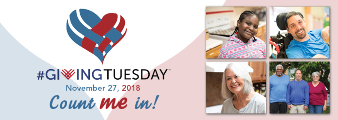 Giving Tuesday logo with a collage of People Inc. program participants.