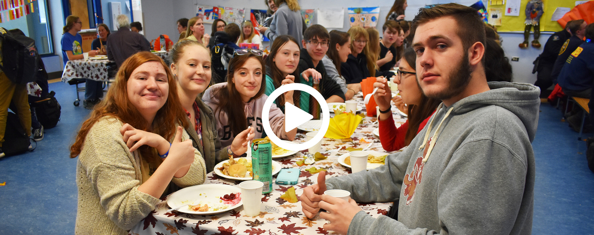 Students at Nederland Middle-Senior High School gather for the annual Harvest Feast.