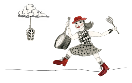 Illustration of musician and cloud